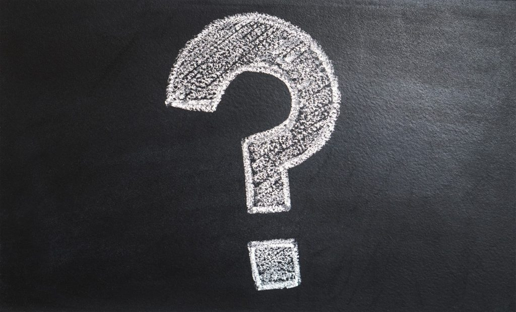 white question mark on chalk board for FAQ