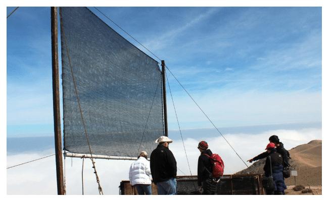 fog harvester in the Moroccan desert mountains