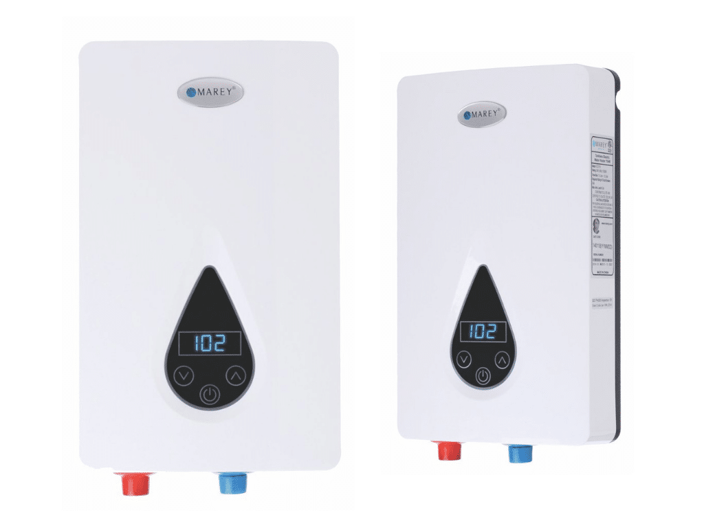 picture of Marey ECO Tankless Water Heater with Smart Technology from two views