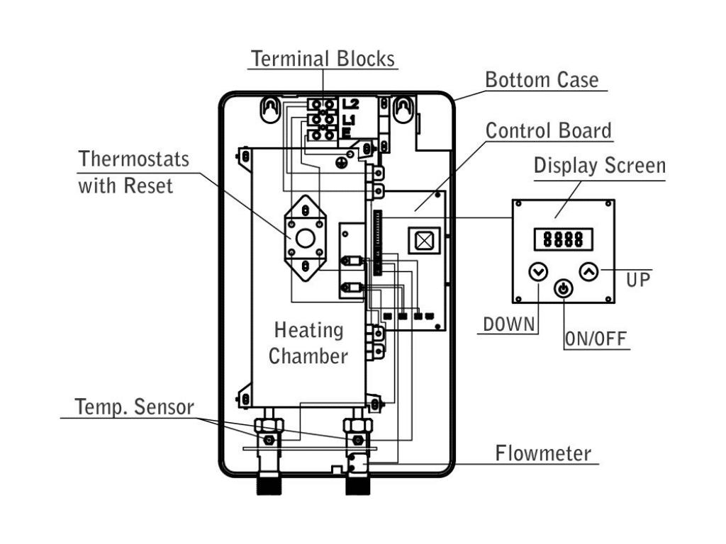 diagram of Marey ECO Tankless Water Heater with Smart Technology