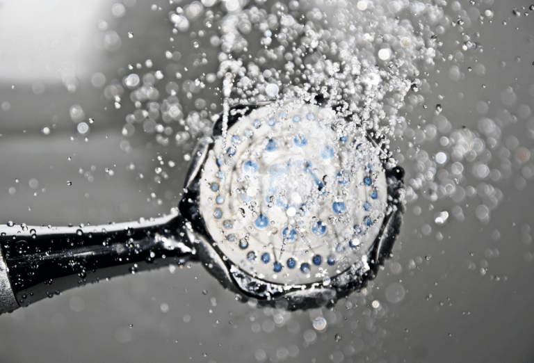 Shower head spraying water