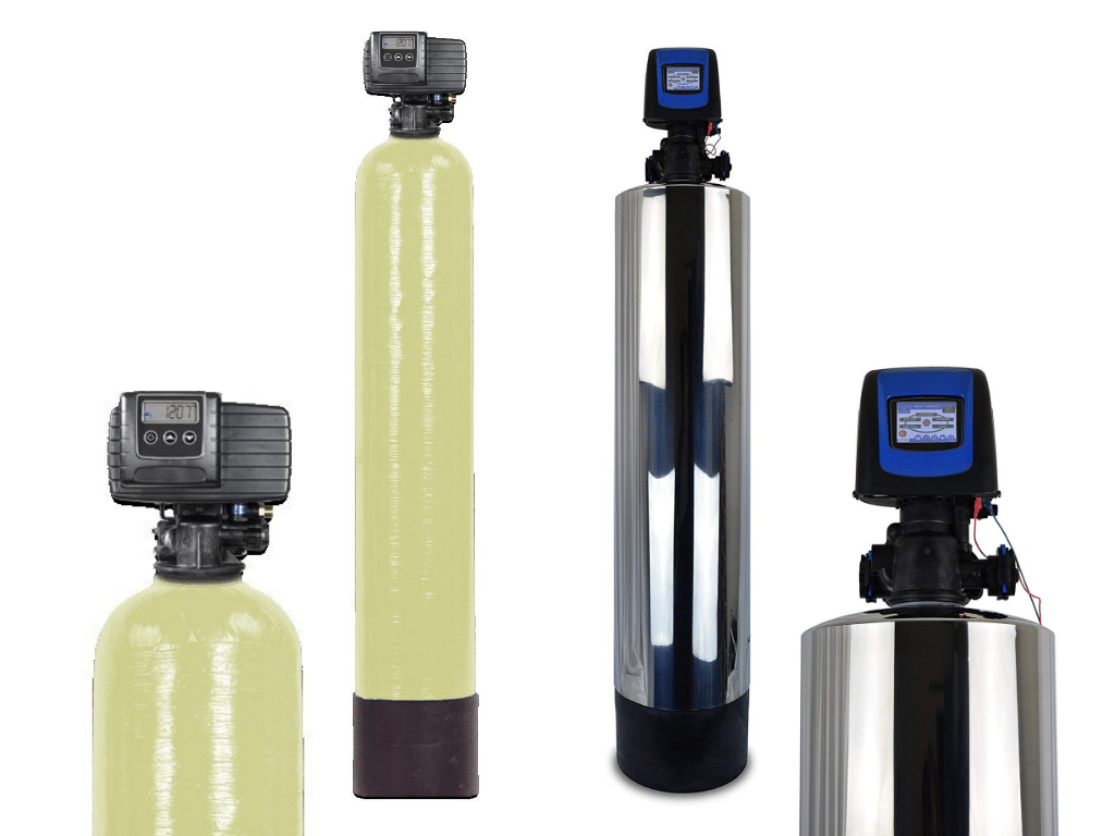 image of Abundant Flow Water Backwashing Carbon Filter System and WECO Backwashing Filter with A600E Anion-Exchange Resin for Alkalinity and Nitrate Reduction (A600E-0948) side by side