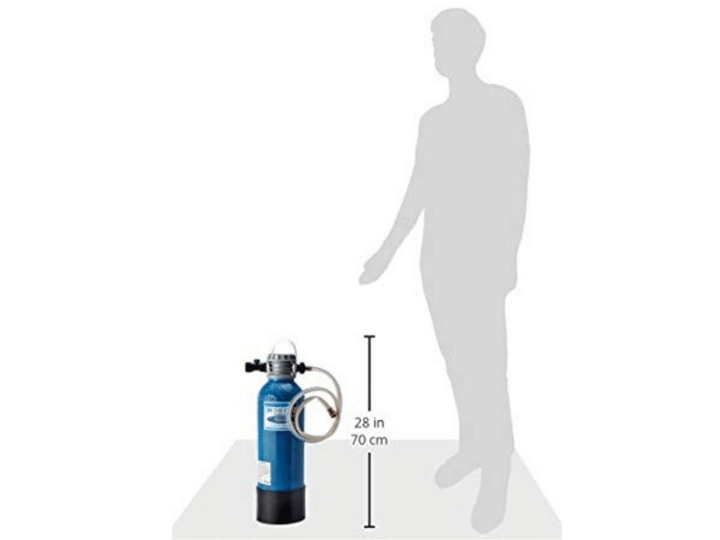 scale image of On The Go OTG3NTP3M Portable Water Softener beside a person to show the height