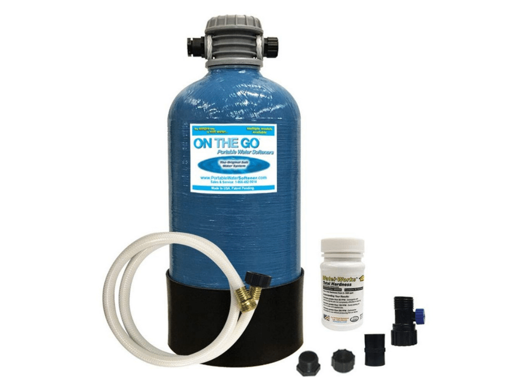Picture of On The Go OTG4-DBLSOFT-Portable 16,000 Grain RV Water Softener beside individual parts