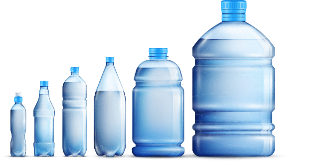 Line up of different types of water bottles